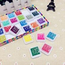 24 цвета многоцветные чернильные подушечки детское изображение отпечатка пальца палец штамп для росписи подушечки пигмент дети ремесло DIY игрушки DTT88