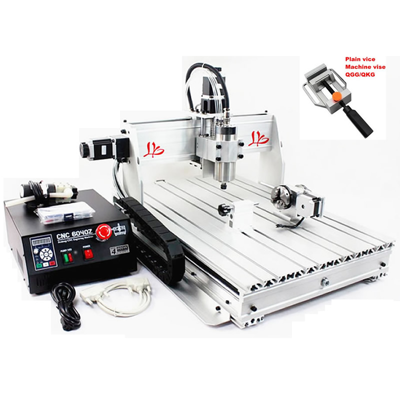 3D Mini CNC Engraving Machine with Rotary CNC Router 6040 Z-S80 1.5KW Spindle Water Cooled 4 Axis Wood Metal Carving Machine cnc router wood milling machine cnc 3040z vfd800w 3axis usb for wood working with ball screw