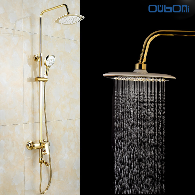 OUBONI Good Quality Luxury Bathroom Modern Rainfall Shower Head Bath Wall Mounted Tub Shower Head Handheld Tap Mixer Faucet Set sognare new wall mounted bathroom bath shower faucet with handheld shower head chrome finish shower faucet set mixer tap d5205