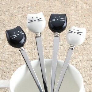 Cute Cartoon Cat Fork Stainless Steel Long Stirring Spoon Fruit Fork Coffee Stainless Steel Spoon Ceramic Handle Fruit Tools