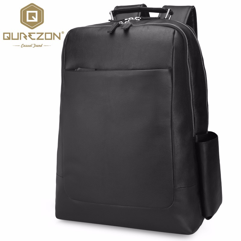 QUREZON Brand Real Genuine Leather Backpack Men 2018 Designer bags High Quality New Casual Black Laptop Bag For Men sac a dos s c cotton brand backpack men good quality genuine leather