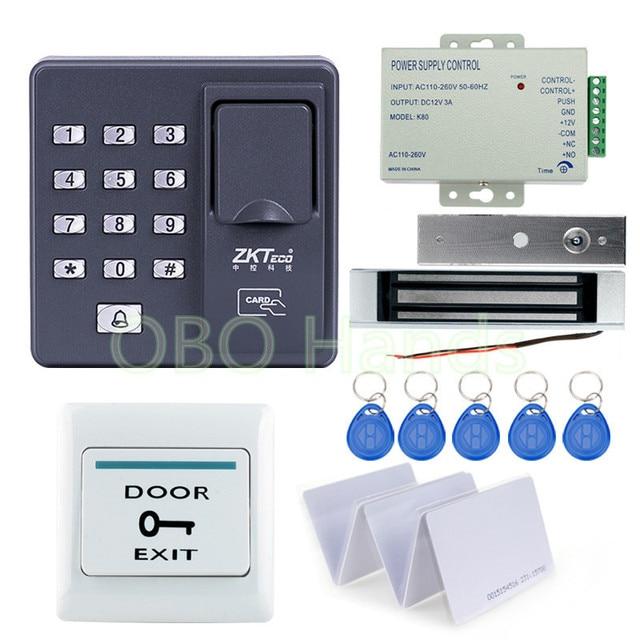 Volledige set Vingerafdruk + RFID EM kaarten Deurslot Toegangscontrole Controller Kit voor toegangscontrole met magnetische lock