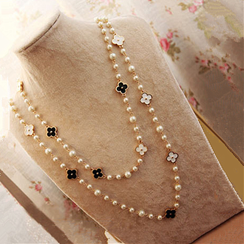 New Pearls Black White Four Leaf Clovers Double Chain Necklace Women Long Sweater Chain choker