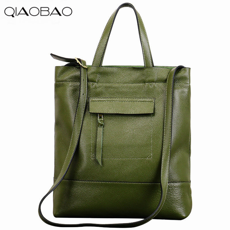 QIAOBAO first layer cowhide ladies handbag Tote bag Europe and the United States shoulder oblique cross leather handbags 2017 new leather handbags tide europe and the united states fashion bags large capacity leather tote bag handbag shoulder bag