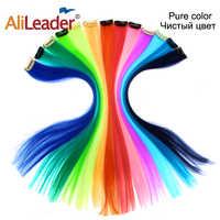Alileader Clip en une seule pièce Extensions de cheveux 50 Cm droite longue synthétique postiches femmes filles arc-en-ciel 57 couleurs 12 G/Pcs