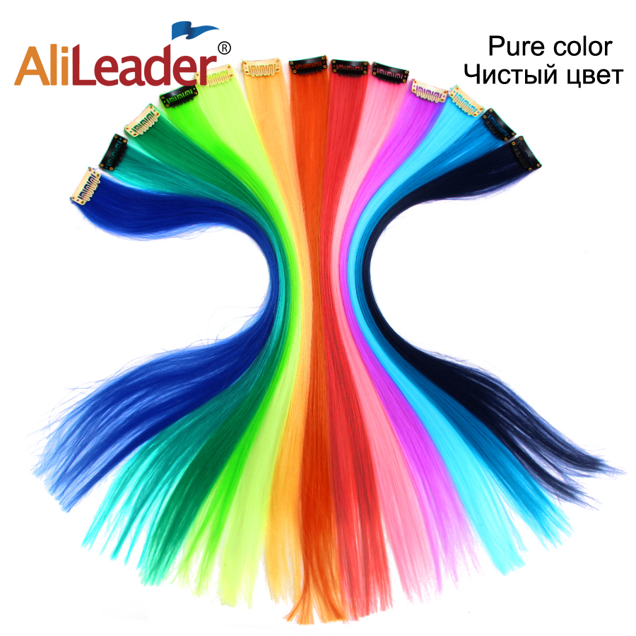 Alileader Clip In One Piece Hair Extensions 50Cm Straight Long Synthetic Hairpieces Women Girls Rainbow 57 Colors 12G/Pcs