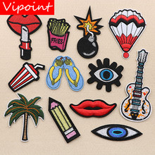 VIPOINT embroidery guitar lipstick patches eyes foods trees badges applique for clothing XW-146