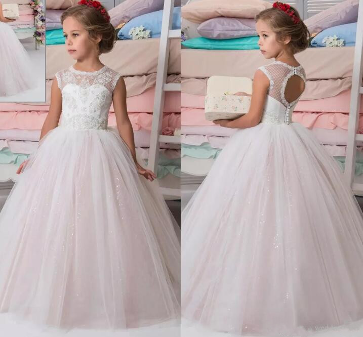 Sparkly Lace Beaded Ball Gown 2017 Flower Girl Dresses Crew Vintage Girls Dresses Beautiful First Communion Dress size 2-16 luxury bling bling flower girl dress for wedding beaded lace crystals ball gown girls first communion dress custom size