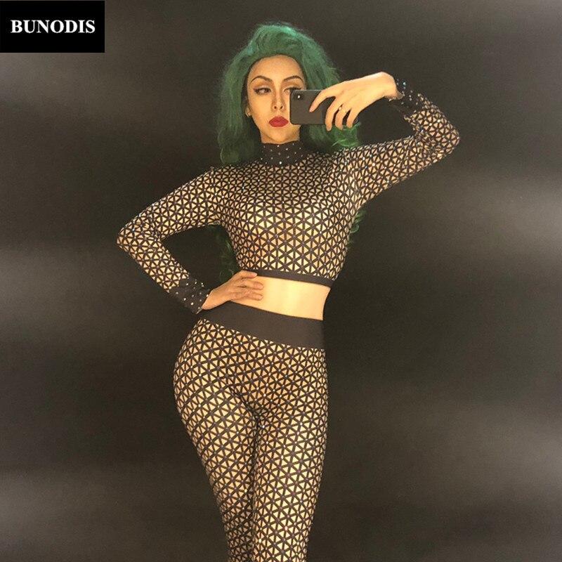 Mousseux Femmes Danseur Parti Chanteur Discothèque Stage Net Salopette Zd355 Sexy Noir Bling Cristaux Costume Temps Spectacle Porter Body pfBdXq