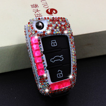Luxury Diamond Car Key Case Bling Cover Shell Holder with key chain Accessories For AUDI A1 A3 Q3 S3 S5 S6 R8 TT Q7 Q5 A6 A4