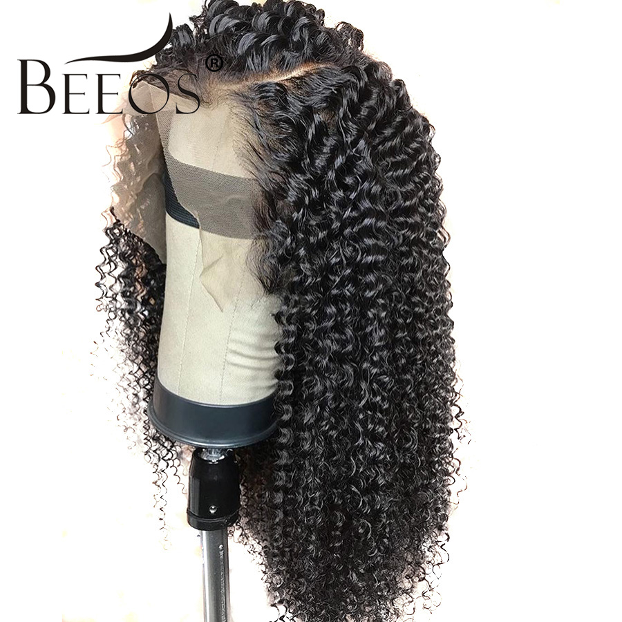 Beeos Mongolian Kinky Curly Remy Human Hair Wigs Women 250 Density 13 6 Lace Frontal Human