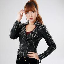 Hot sell ! Black spring slim fit pu jacket womens long sleeve rivets leather short coats woman fashion belt street dance clothes