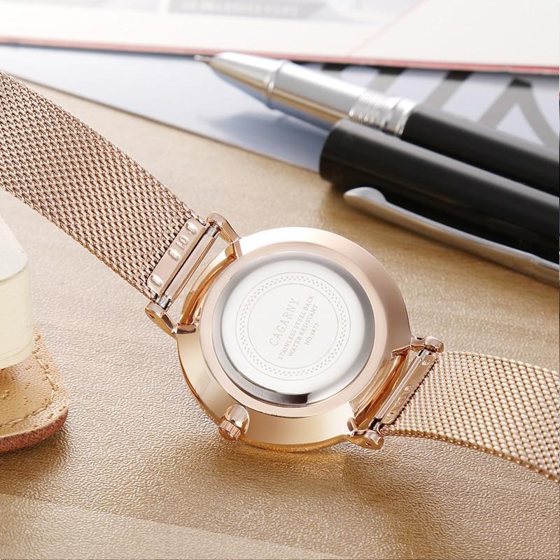 Horloge Dames Rose Goud Luxe Merk Cagarny Women's Wastches Mode - Dameshorloges - Foto 5