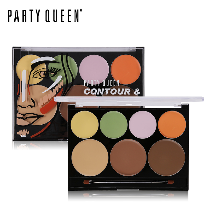Party Queen Professionel Face Makeup Concealer Palette Øjne Læber Kontur Cream Camouflage Corrector Freckles Bronzer With Brush