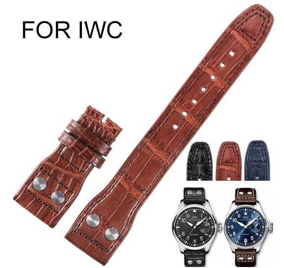 Ши Хуэй из крокодиловой кожи Ремешки для наручных часов мужские часы аксессуары мм 22 мм коричневый интерфейс ширина 22 мм