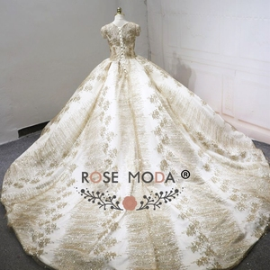 Image 3 - עלה שמפניה שמלת כלה נצנצים שרוולים קצרים 2018 יוקרה Moda מוסלמי כדור שמלת חתונת שמלות ארוכה רכבת ערבית