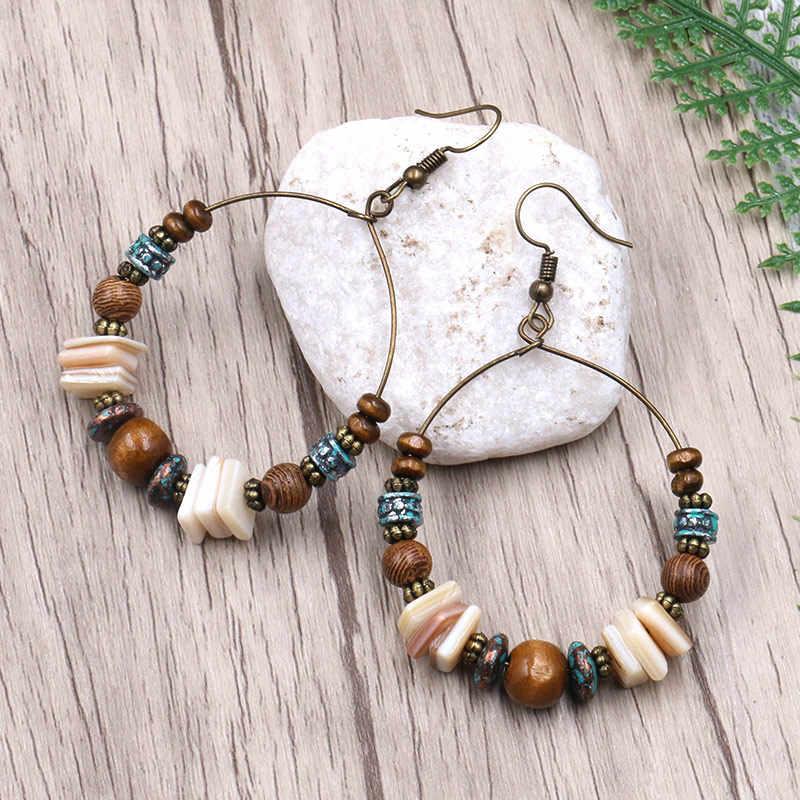 ZHIMO עתיק בציר בוהמיה עגיל עץ מעטפת קריסטל חרוזים מעגל להתנדנד טיפת עגילים לנשים