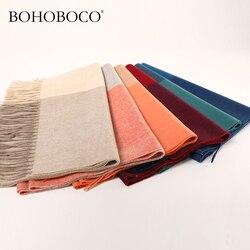 Luxe stijlvolle dame vrouwelijke lente herfst winter dikke visgraat cashmere lange sjaals wraps met tasle franjes
