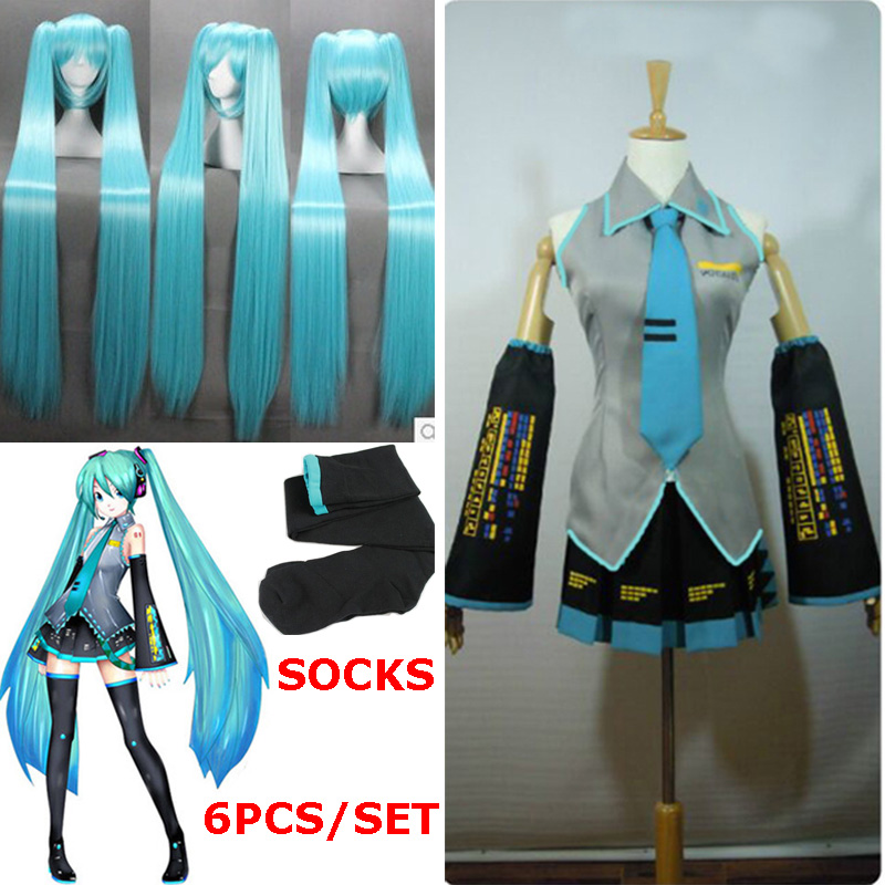High Quality Full Set Vocaloid Cosplay Hatsune Miku Cosplay Costume Outfits Anime Halloween Harajuku Midi Dress Comic-con Party