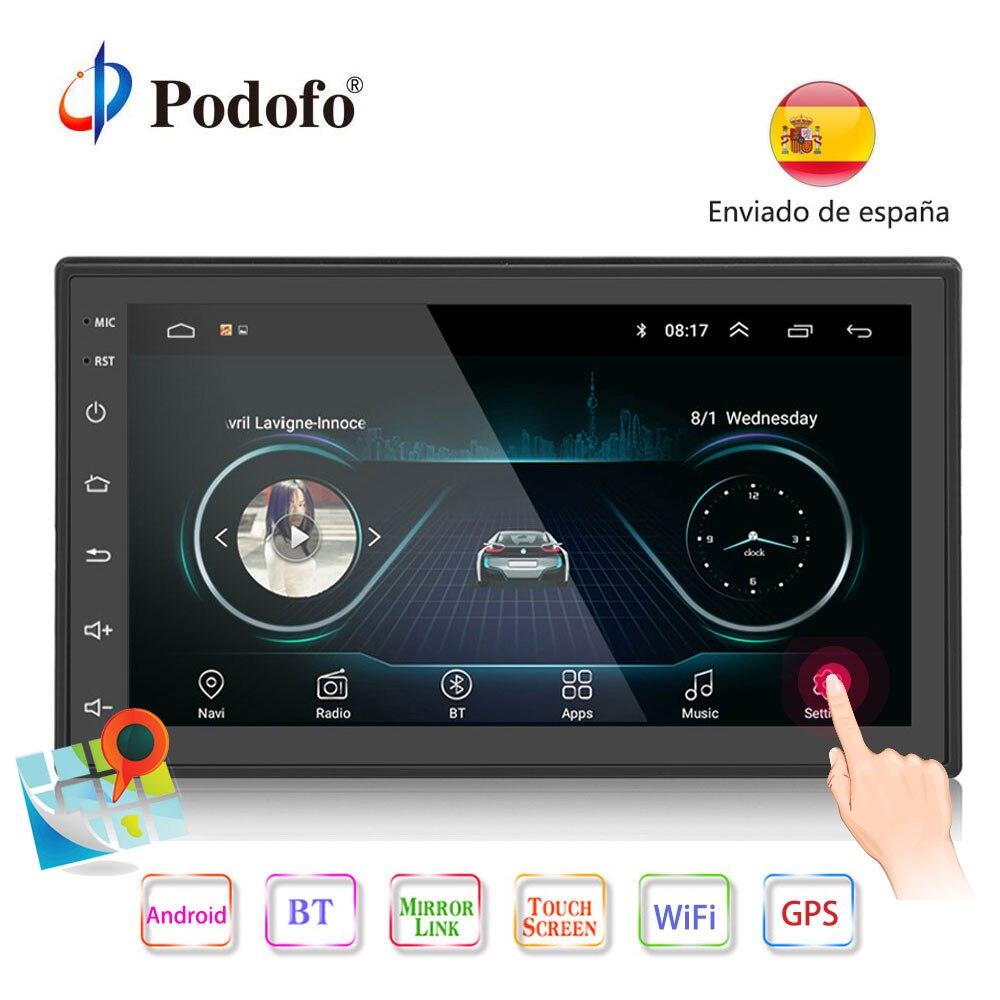 Podofo 2din Android Car Radio multimedia player Mirror link Autoradio 2 Din 7'' GPS WIFI Bluetooth FM auto audio player stereo