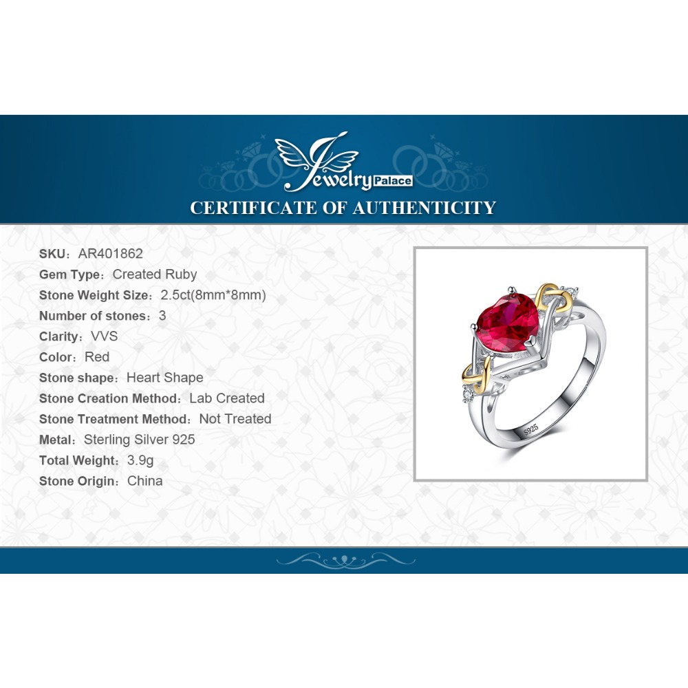 JewelryPalace Love Knot Heart 2.5ct Created Red Ruby Anniversary Promise Ring 925 Sterling Silver 18K Yellow Gold rzLJNOFx
