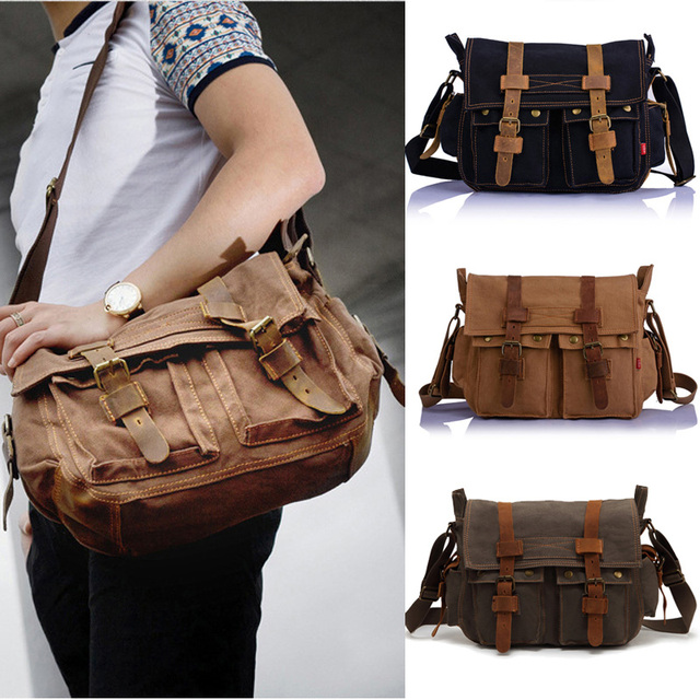 5 Colors Men Women Vintage Canvas Leather School Military Shoulder Bag  Men s Messenger Bags Retro Classical Style 6f37efe2179f7
