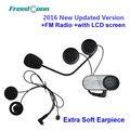 2016New Versão Atualizada! FreedConn T-COM-SC W/Tela BT Bluetooth Capacete Da Motocicleta Intercom Headset com Rádio FM + Fone de Ouvido Macio