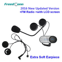 New Updated Version! FreedConn T-COM-SC W/Screen BT Bluetooth Motorcycle Helmet Intercom Headset with FM Radio+Soft Earpiece