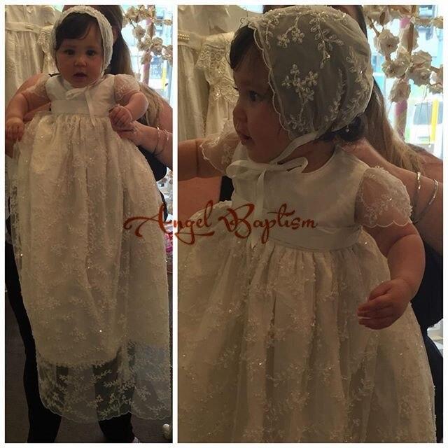 Luxus fehér elefántcsont baba lányok keresztség ruha csipke - Bébi ruházat - Fénykép 2