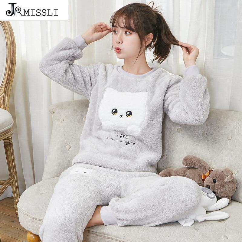 JRMISSLI Thickening Warm Flannel Pajama Women Autumn Winter Pyjama Female O-Neck Comfortable Sleepwear Homewear G888