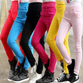Vestuário infantil outono criança do sexo feminino de cor sólida criança legging 100% algodão calças skinny slim casuais calças calças esportivas