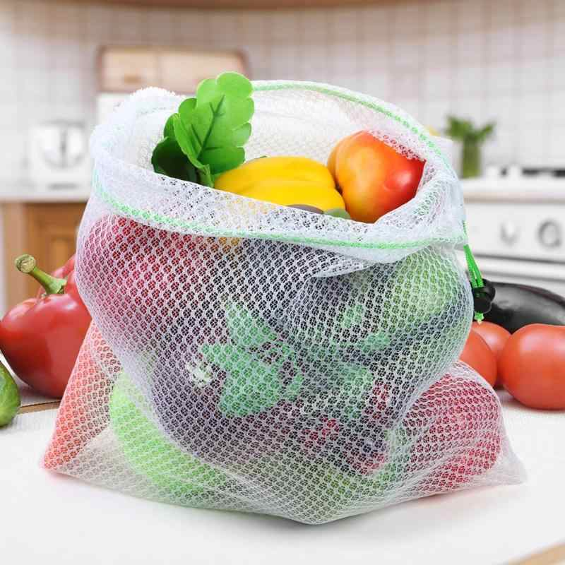 Reusable Mesh Produce Bags Grocery Fruit Vegetable Sundries Storage Pouch
