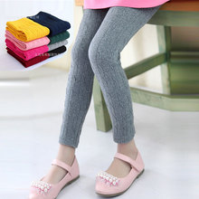 Kids Girls Leggings Spring Autumn Knitted Children Solid Color Legging Baby Toddler Casual Ankle Luster Pencil Pants New недорого