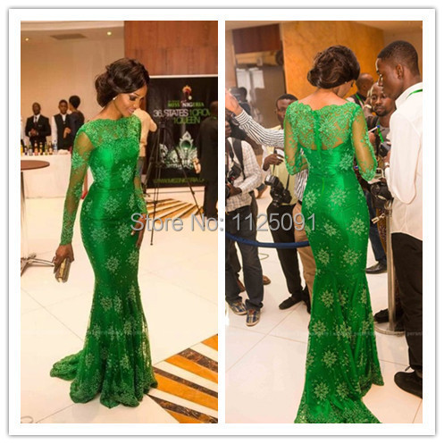 2019 New Arrival Red Carpet Miss Nigeria Mermaid Green Lace Celebrity   Dress   Elegant Long Sleeves   Evening     Dresses   Custom Made