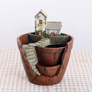 Image 4 - Roogo 植木鉢ミニ多肉植物ポットヴィンテージヨーロッパ植木鉢バイオニックガーデンポット家の装飾バルコニーの装飾プランターギフト