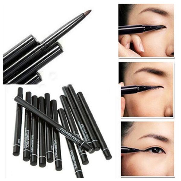 Hot Sale! 2pcs/lot  Women Waterproof Retractable Rotary Eyeliner Pen Eye Liner Pencil Makeup Cosmetic Tool