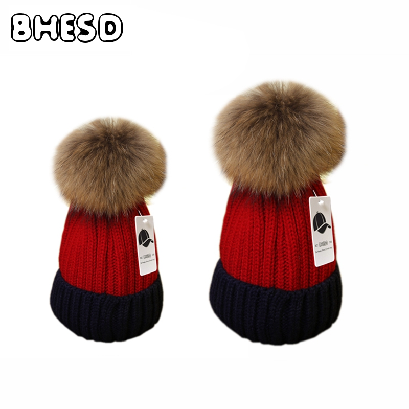 2pcs/Lot Parent-Child Real Raccoon Fur Pompoms Wool Hat Winter Beanies Bonnet Femme Women Knitted Pom Pom Hat Gorro Bone JY-486 bohs 2 persons parent child board game family fun recreation