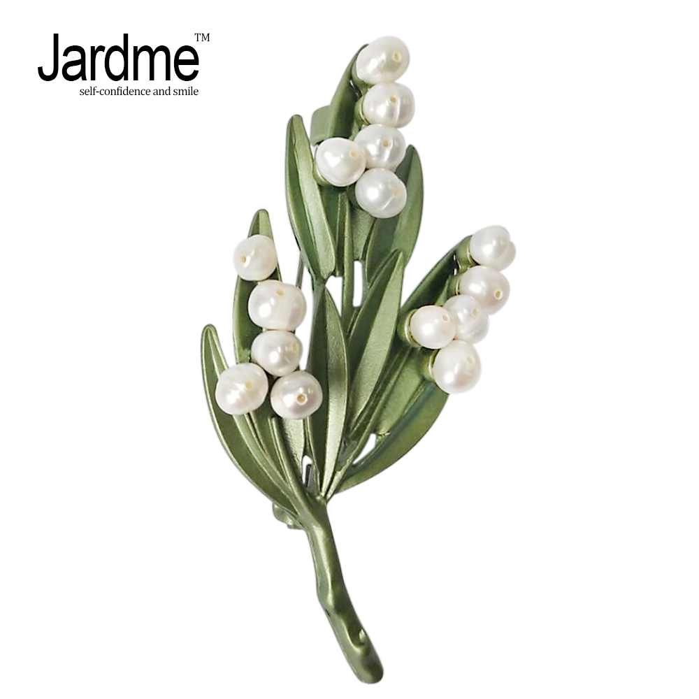 Jardme White Wax Tree Plant Brooches Natural Pearls Metal Paint Lifelike Shape Badge Silk Scarf Hat Collar Clip Accessorie