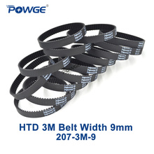 POWGE 10pcs HTD 3M Timing belt 207 3M 9 Perimeter 207mm width 9mm Teeth 69 Rubber HTD3M synchronous belt 207 3M 9 closed loop