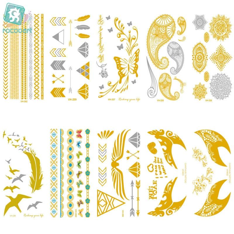 MB VH2 Waterproof Tatoo Golden Gold Feather Flying See Mews Fake Glitter Metallic Temporary Tattoo Sticker Taty Tatuagem