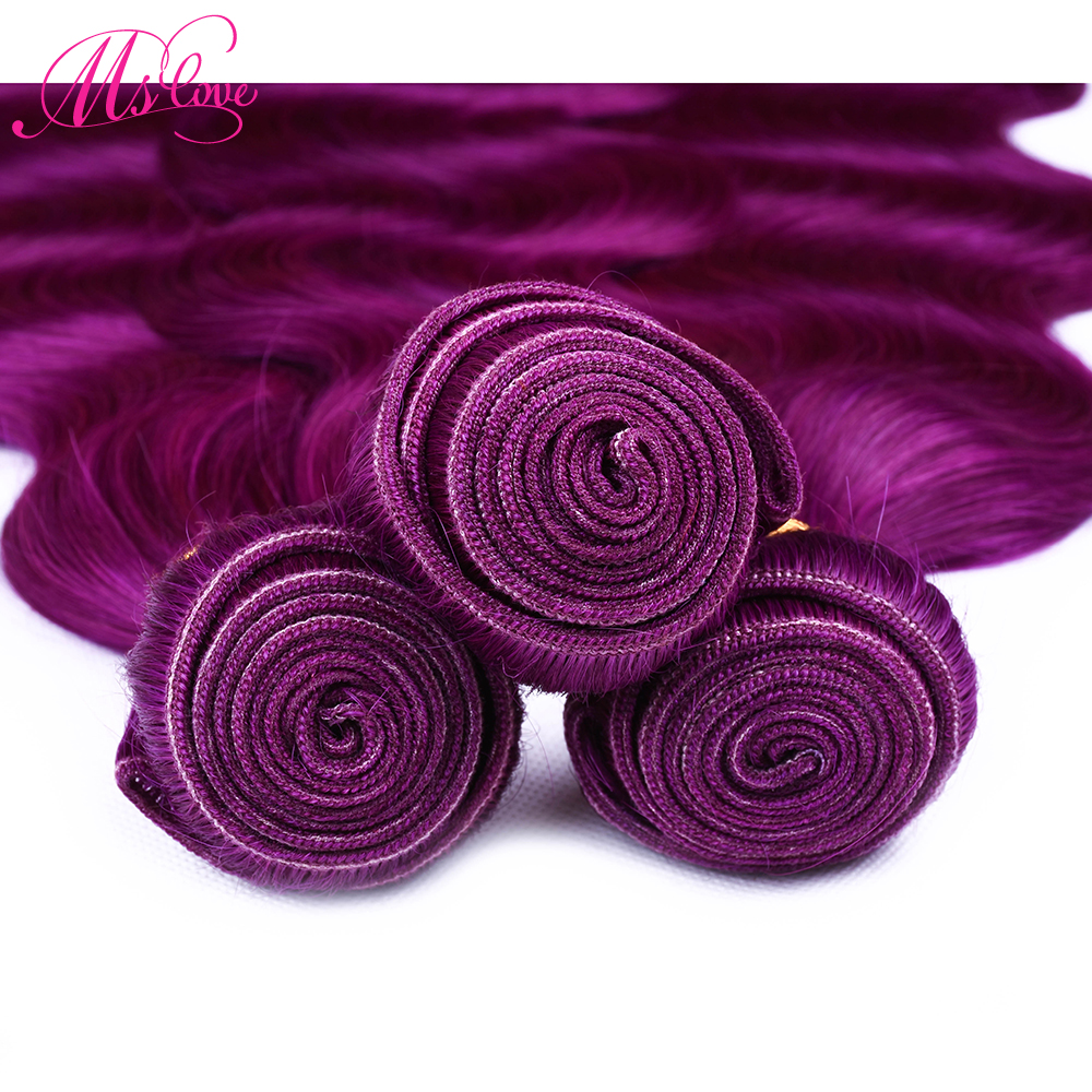 Ms Love Pre Colored Purple Red Body Wave Human Hair Bundles With Lace Frontal Closure Remy Brazilian Hair Lace Frontal