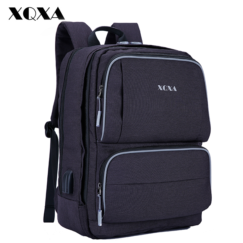 XQXA Large Capacity Backpack Men Business Travel Waterproof 15-17 Inch Laptop Notebook Bag Unisex USB Charge Backpacks Mochila men s backpack business travel bag 15 inch laptop notebook mochila for men women waterproof back pack school backpack bag