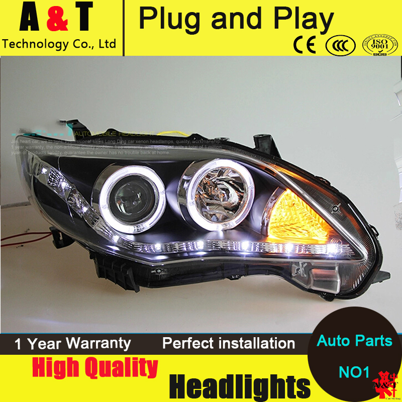 Car Styling LED Head Lamp for Toyota Corolla led headlight assembly 2011-2013 angel eyes led drl H7 with hid kit 2pcs. car styling head lamp for bmw e84 x1 led headlight assembly 2009 2014 e84 led drl h7 with hid kit 2 pcs