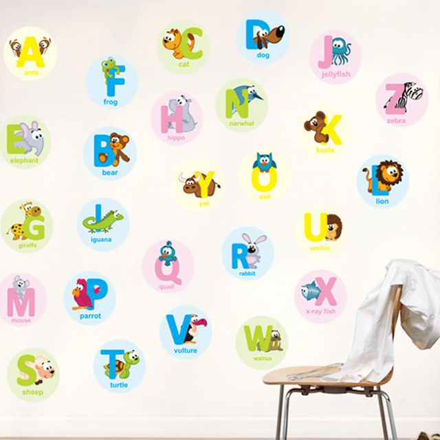 Alphabet Animals Educational Wall Sticker Decal Home Paper Art - Educational wall decals