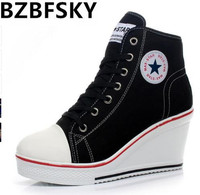 Women Casual Canvas Shoes Female Badge Wedges Heel Shoes Thick Bottom High Top Wedge Boots Women