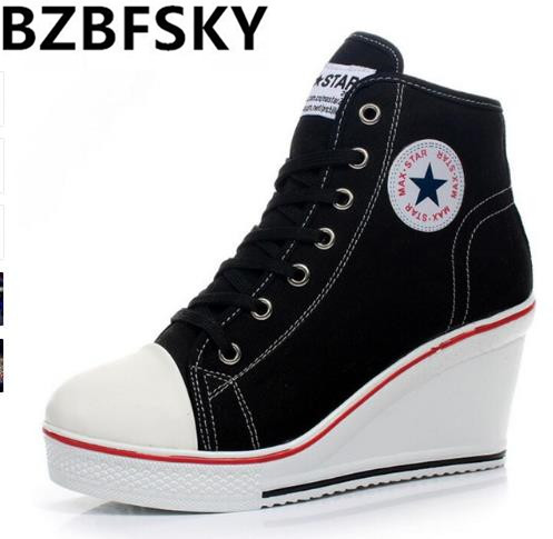 Women Casual Canvas Shoes Female Badge Wedges Heel Shoes Thick Bottom High Top Wedge Boots Women's Platform Shoes Zapatos Mujer e toy word canvas shoes women han edition 2017 spring cowboy increased thick soles casual shoes female side zip jeans blue 35 40
