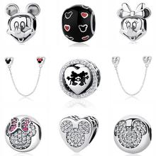 Real 100 925 Sterling Silver Beads Charm Mickey Mouse Sparkling Heart Charms Fit Original Pandora