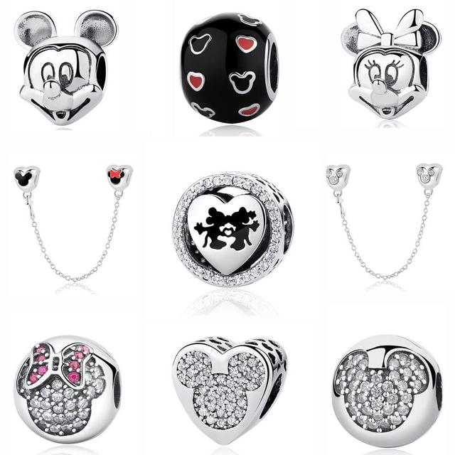 7ce813645 Real 100% 925 Sterling Silver Beads Charm Mickey Mouse Sparkling Heart  Charms Fit Original Pandora Bracelets & Bangles Jewelry