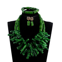 African Nigerian Wedding Coral Beads Jewelry Set Green Chunky Beads Statement Necklace Set Baroque Style PJW193