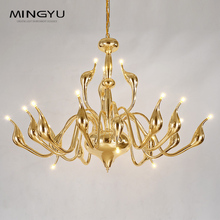 цены на Swan Chandeliers Lighting AC 110-240V LED Bulbs Modern Pendant Light Fixtures for Bedroom Dining Living Room White Gold Silver  в интернет-магазинах